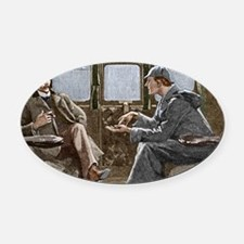 Sherlock Holmes and Dr. Watson Oval Car Magnet