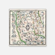 """Historical Chinese map Square Sticker 3"""" x 3"""""""