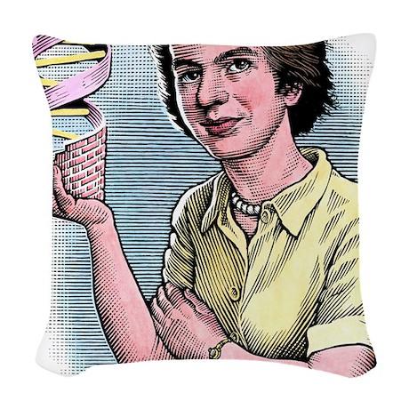Rosalind Franklin, British che Woven Throw Pillow