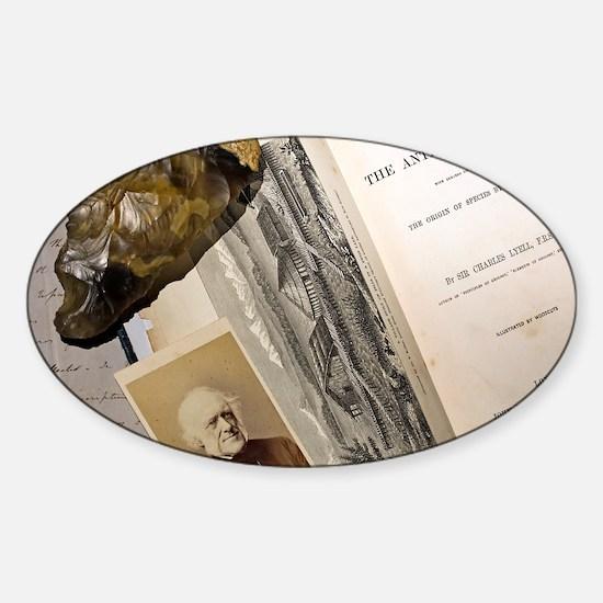 1863 Lyell's Antiquity of Man deskt Sticker (Oval)