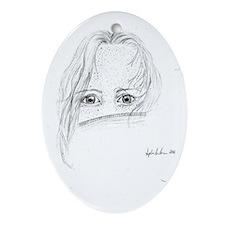 A silent girl.  Oval Ornament