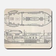 1832 Darwin's ship HMS Beagle plan Mousepad