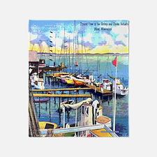 Vintage Biloxi Shrimp Oyster Boat Po Throw Blanket