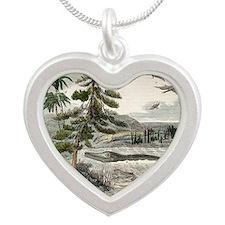1833 Penny Magazine extinct  Silver Heart Necklace