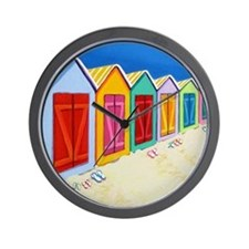 Colorful Beach Cabana Hut Wall Clock
