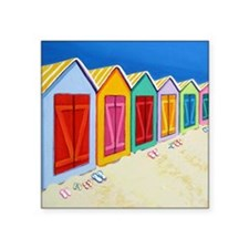 "Colorful Beach Cabana Hut Square Sticker 3"" x 3"""