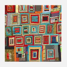 Colorful Crazy Quilt Flip Flops Tile Coaster