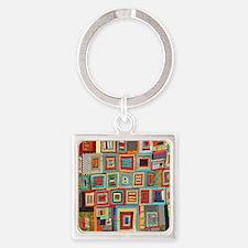 Colorful Crazy Quilt Flip Flops Square Keychain