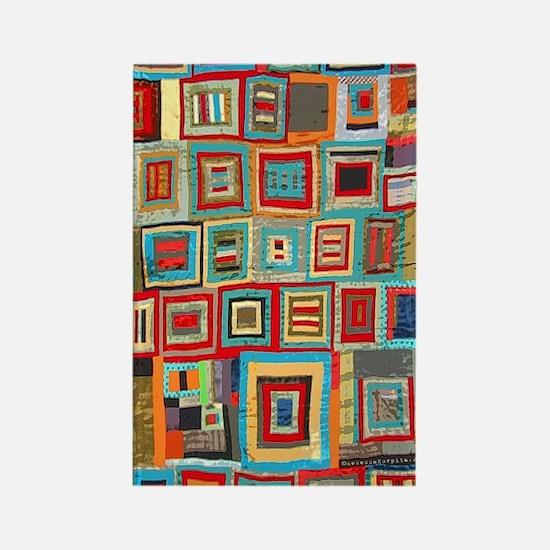 Colorful Crazy Quilt Flip Flops Rectangle Magnet
