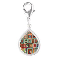 Colorful Crazy Quilt Flip F Silver Teardrop Charm