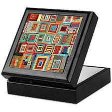 Colorful Crazy Quilt Flip Flops Keepsake Box