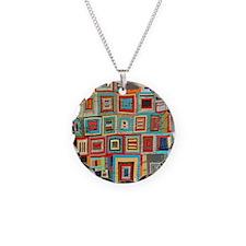 Colorful Crazy Quilt Flip Fl Necklace