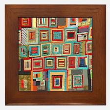Colorful Crazy Quilt Flip Flops Framed Tile