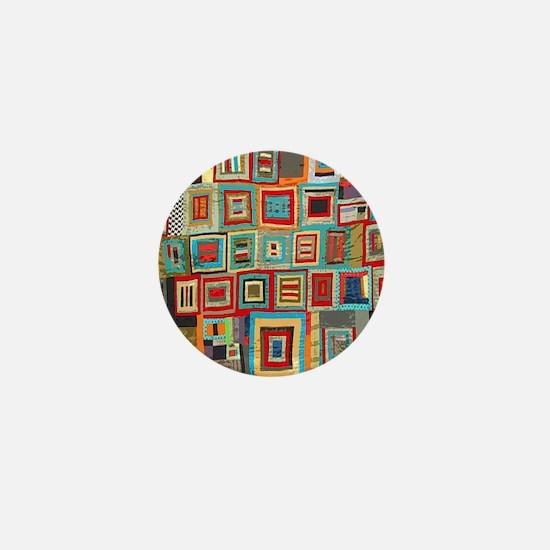 Colorful Crazy Quilt Flip Flops Mini Button
