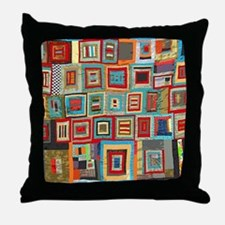 Colorful Crazy Quilt Flip Flops Throw Pillow