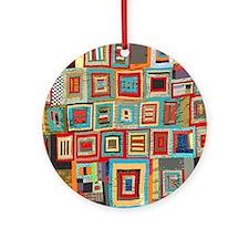 Colorful Crazy Quilt Flip Flops Round Ornament