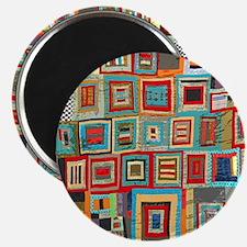 Colorful Crazy Quilt Flip Flops Magnet