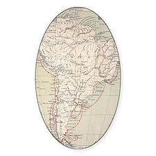 Darwin's Beagle Voyage Map South Am Decal