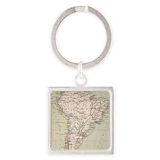 Darwin's Beagle Voyage Map South A Square Keychain