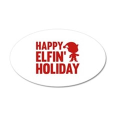 Happy Elfin' Holiday 22x14 Oval Wall Peel