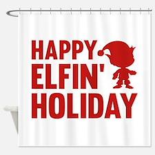 Happy Elfin' Holiday Shower Curtain