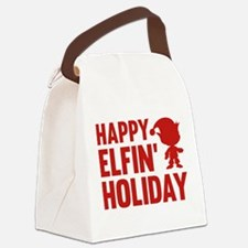 Happy Elfin' Holiday Canvas Lunch Bag