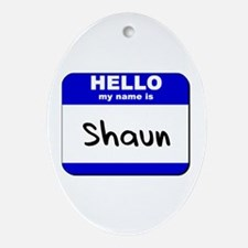 hello my name is shaun  Oval Ornament