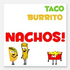 "Taco and Burrito Convers Square Car Magnet 3"" x 3"""