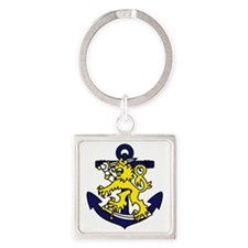 Finnish Navy Emblem Square Keychain