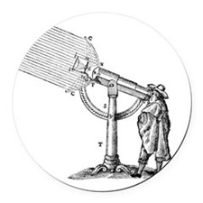 Compound microscope, 17th Century Round Car Magnet