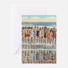 Vintage Seashore Beach Beauties Post Greeting Card