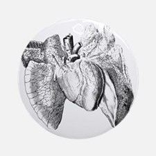 Heart and lung anatomy, 17th centur Round Ornament