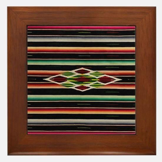 Vintage Black Mexican Serape Framed Tile