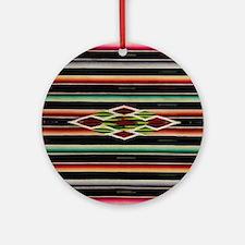 Vintage Black Mexican Serape Round Ornament