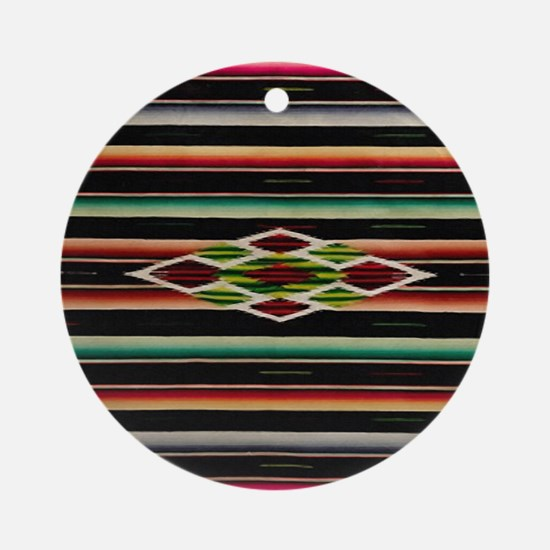 Vintage Black Mexican Serape Round Ornament