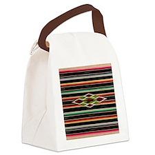Vintage Black Mexican Serape Canvas Lunch Bag