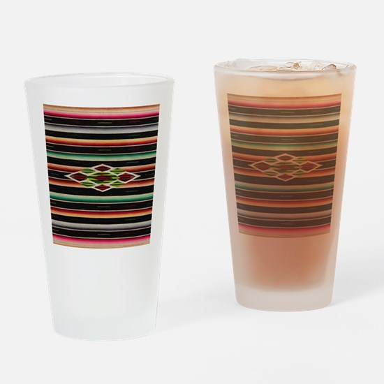 Vintage Black Mexican Serape Drinking Glass