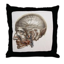 Head vascular anatomy, historical art Throw Pillow