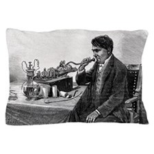 Edison talking into his phonograph Pillow Case