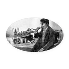 Edison talking into his phonograph Oval Car Magnet
