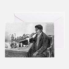 Edison talking into his phonograph Greeting Card