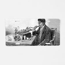 Edison talking into his pho Aluminum License Plate