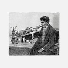 Edison talking into his phonograph Throw Blanket
