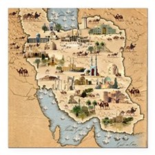 "Iran, pictorial map Square Car Magnet 3"" x 3"""