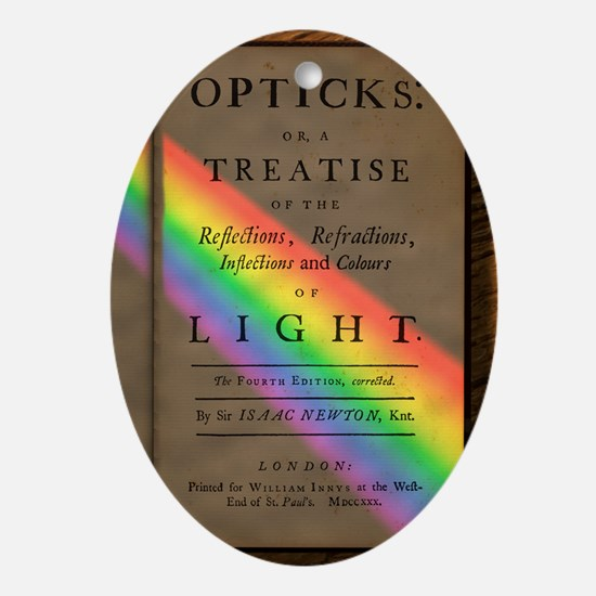 Newton's Opticks with colour Spectru Oval Ornament