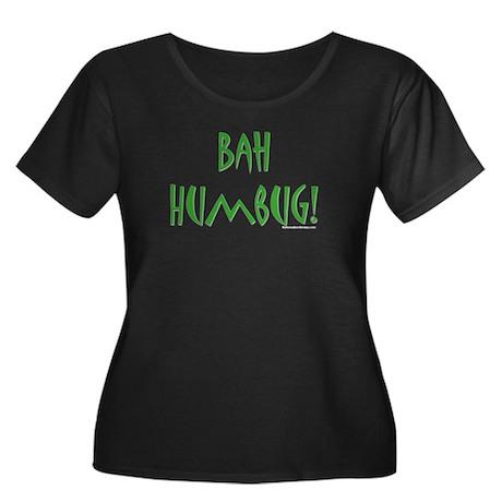 Bah-Humbug! Women's Plus Size Scoop Neck Dark T-Sh