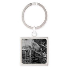 Deer Drawing 2013 Square Keychain