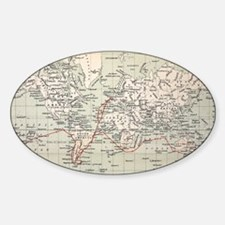 Map Darwin's Beagle Voyage South Am Decal