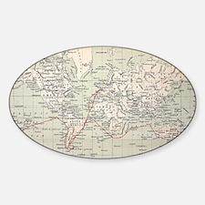 Map Darwin's Beagle Voyage South Am Sticker (Oval)