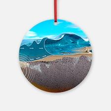 Underwater earthquake and tsunami Round Ornament